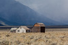 Barns against the storm clouds (rdhphotos) Tags: fog day wyoming grandteton mormonbarn