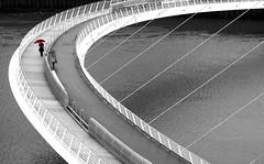Morning Crossing - Millennium Bridge Gateshead (Gilli8888) Tags: newcastle gateshead tyne rivertyne tyneandwear millenniumbridge spotcoloured masked bridge curves blackandwhite