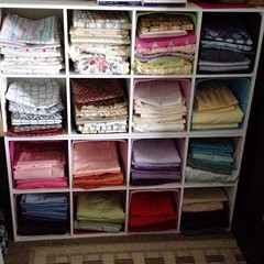 "Part of my motivation for reimagining my studio space was to reorganize our fabric stash and find room for additional storage bins. I often tell people that we have a rainbow of fabrics on hand. Today, I thought that I would show you that fabric rainbow. • <a style=""font-size:0.8em;"" href=""http://www.flickr.com/photos/54958436@N05/17022713933/"" target=""_blank"">View on Flickr</a>"