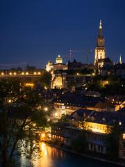 126/365: Bern from Grosser Muristalden, Blue Hour (haslo) Tags: old blue lights schweiz switzerland town olympus hour bern bundeshaus bluehour münster omd em1 project365 taggedytag 115in2015