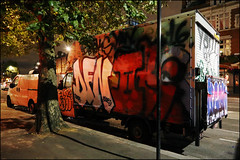 DFN / 2Rise (Alex Ellison) Tags: 2rise tworise gw ghostwriters throwup throwie dfn eastlondon urban graffiti graff boobs night van lorry boxtruck
