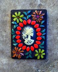 Catrina ATC (floyfreestyle) Tags: atcartisttradingcard catrina dayofthedead diadelosmuertos mosaic flowers handmade cameo