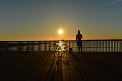 Sunshine (Sergi_Escribano) Tags: barcelona barcelonastreetphotography backlighting bicycle streetphotography streetsofbarcelona shadows sunrise sun sunlight sky dawn sea landscape barceloneta beach amanecer