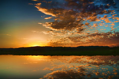 Sunset with Clouds Reflected (Gary.Lamprecht) Tags: canont6s mississippiriver backwaters backwater sunset reflection topaz