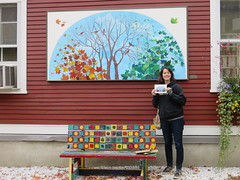 We Found The Mural That Matches The Postcard (amyboemig) Tags: vermont fall october foliage bristol painting mural beth postcard