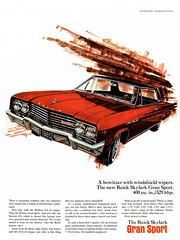 A howitzer with windshield wipers. 1965 Buick Skylark Gran Sport (Tom Simpson) Tags: 1965 buick skylark gransport howitzer car cars classiccars vintage buickskylark 1965buick ad ads advertising advertisement vintagead vintageads