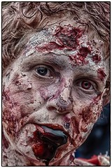"""""""I think there's something on your lip"""" (Andy J Newman) Tags: bristol england unitedkingdom gb zombie zombiewalk colorefex nikon d500 blood stare"""