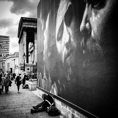 Caravaggio (Flamenco Sun) Tags: homeless billboard gallery caravaggio nationalgallery london