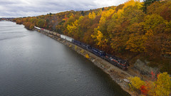 Along the shores of the Maranacook (Thomas Coulombe) Tags: panamrailways panam guilfordrailsystem guilford powa emdgp40 gp40 freighttrain train dji phantom drone aerial maranacook winthrop maine fallcolors autumnfoliage