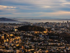 San Francisco, from Twin Peaks (g1rlwithacurl) Tags: ifttt 500px city cityscape architecture travel town skyline outdoors sunset house landscape building evening panoramic dusk daylight urban landmark no person san francisco alcatraz bay buena vista park golden hour angel island california west coast