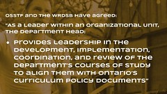 Educational Postcard: The department head is to provide implementation leadership (Ken Whytock) Tags: osstf wrdsb departmenthead leader organizational unit provide leadership development implementation coordination review department courses study align ontario curriculum policy documents