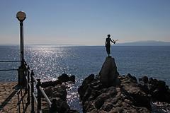 Opatija (Vid Pogacnik) Tags: croatia hrvatska istria istra hiking biking outdoor landscape opatija statue coast sea