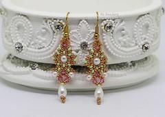 Dhara Earrings (BeeJang - Piratchada) Tags: beadweaving beadwork beading earrings earring miyuki gold golden pearl swarovski crystal bicone teardrop pink rose spring green jewelry handmade