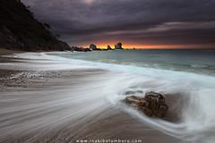 DYNAMIC SILENCE (II) (Obikani) Tags: silencio asturias españa playa beach cudillero sea seascape landscape wave sunset sun cloud ocean shore waves rocks spain asturies canonikos