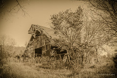 Falling Barn (Back Road Photography (Kevin W. Jerrell)) Tags: barns kingsport tennessee sullivancounty nikond60 sepia country countryscenes oldbuildings fallingdown dilapidated rural ruralphotography backroadphotography