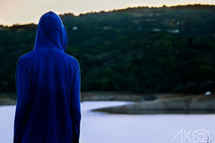 DSC_5538 (Anish_Krishnan) Tags: back person man male rear hood hoodie blue orange sky sunset sunrise lake pond ocean sea scenery landscape cinematic green yellow water overlook overlooking