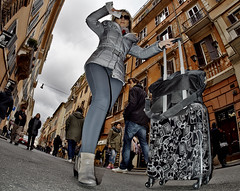 Another suitcase. (Baz 120) Tags: candid candidportrait candidstreet city candidface candidphotography contrast colour street streetphoto streetcandid streetphotography streetphotograph streetportrait streetfaces rome roma romepeople romecandid romestreets urban primelens portrait people unposed italy italia life girl grittystreetphotography flashstreetphotography faces flash decisivemoment strangers