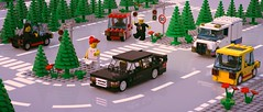 Driving in the 90ies (ron_dayes) Tags: lego town classic 90ies 80ies car mercedes traffic scene road plate vintage