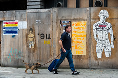 Endless Pillow Dreams (stevedexteruk) Tags: cleveland street london fitzrovia uk 2016 dog walking endless art graffiti artist pants shorts dreams hoarding