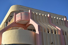 empty (curly_em) Tags: bluesky blue buildings building concrete pastel loscristianos tenerife canaryislands outside yellow pink curves