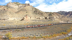 Shoving (GLC 392) Tags: price martin ut utah railway train railroad mk morrison knudeson shops clouds sky mountains 5004 mk5000c mk503 sd50s 6064 helper buildings gw genessee wyoming valley fall color signal 6062 5002 5003 6063 cusipj mid helpers spring glen outdoor landscape mountainside hill foothill up union pacific castle gate