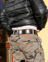 mil13 (armybelt007) Tags: leatherbelt wideleatherbelt armybelt militarybelt crotch bulge malebutt beltfetish beltandjeans officerbelt policebelt camopants camouflage camobomberjacket