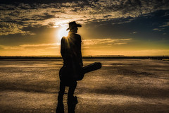 Guitar Man (Chas56) Tags: sunset selfie self cowboy shadow arid environment outdoor remoteexposure portrait setup stages canon canon5dmkiii walking ncg landscape guitar guitarman silhouette