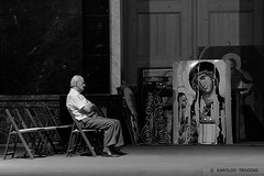SILENT COMUNICATION   (SERBIA, BELGRADE) (KAROLOS TRIVIZAS) Tags: pictures portrait man church icons respect chairs expression madonna serbia pray praying oldman images thoughts impact devotion belgrade virginmary jesuschrist physiognomy holymother blessedvirgin digitalcameraclub
