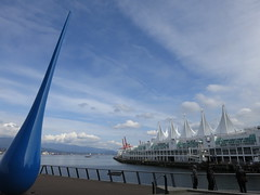 Drop and sails (Ruth and Dave) Tags: blue sky sculpture building art architecture modern vancouver clouds downtown waterfront sails drop seawall droplet burrardinlet canadaplace vancouverconventioncentre