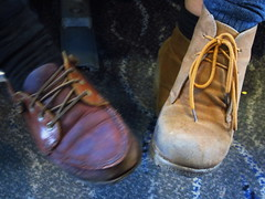 The odd couple ... (Peggy2012CREATIVELENZ) Tags: brown boots tan laces peggy2012creativelenz