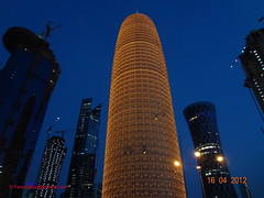 Twilight Shot - Burj Qatar , Qatar . (Feras.Qadoura1) Tags: city building night buildings shot towers doha qatar burj برج تصوير التصوير قطر الدوحة أبراج ليلي الليلي