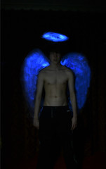 Angel (Adam.James.Rice) Tags: blue black angel wings heaven halo electroluminescent elwire electroluminescentwire
