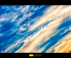 Libero nell'aria (Sandro Vinci) Tags: light sunset shadow sky sun yellow clouds airplane freedom landscapes fly amazing nikon tramonto nuvole foto photographer shot pics blu air free