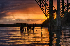Dark Sunset (ZLBlackwood) Tags: bridge sunset oregon coast march newport yaquinabay 2013
