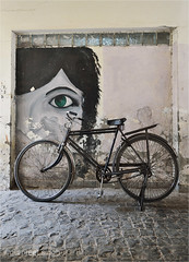 a bicycle (gurpreet_singh.) Tags: light india eye face bicycle wall nikon floor stones pebbles tiles flooring d4