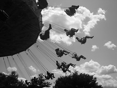 Swings In B&W (beckynussbaum) Tags: park white black amusement ride air swings