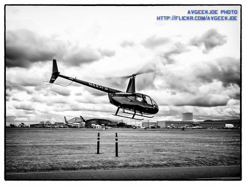 B&W Conversion of a R-44 Black Helicopter Take-Off