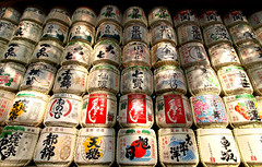 Barrels of sake wrapped in straw (Astro Oscar) Tags: shrine barrels sake meji mejishrine