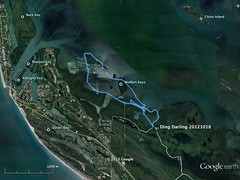 Ding Darling NWR kayaking map - October 18, 2012 (cell911) Tags: gulfofmexico florida map kayaking gps sanibel googleearth captiva pineislandsound dingdarlingnwr gpsmap76csx