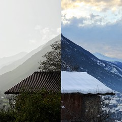 Seasons (Nrktk) Tags: winter sky cloud mountain snow nature canon season landscape spring duality