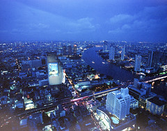 Bangkok city night view from Sirocco Sky Bar (GMilo) Tags: thailand pentax kodak bangkok 6x7 portra
