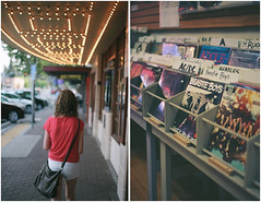 a link between past and future (after october) Tags: city summer urban music records film girl oregon 35mm evening town diptych bend walk pentaxk1000 pacificnorthwest recordstore