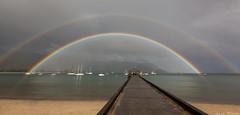 Double The Luck (Lace Photos www.lacephotos.com) Tags: ocean hawaii pier rainbow kauai hanaleipier hanaleibay