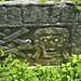Una raffigurazione di un teschio nel cimitero di Uxmal