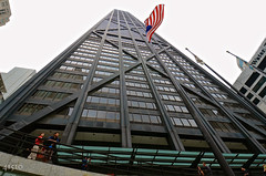 John Hancock Observatory (4 1 5 1 0) Tags: windows sky urban usa chicago reflection architecture clouds skyscraper buildings landscape illinois nikon flag overcast americanflag wideangle flags nikkor downtownchicago urbanphotography 1024mm d7000