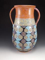 big circles vase (1) (fire n flux) Tags: ceramic carved pattern feminine amphora vase pottery cirlces sgraffito wheelthrown