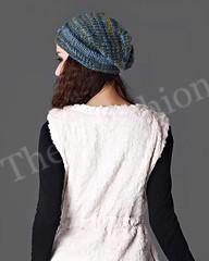 HW-0002-หมวกไหมพรมแฟชั่นสีสันสดใสถักสองลายเก๋ไก๋แนวอินดี้อบอุ่นน่ารักใช้แทนที่ปิดหูได้เลย