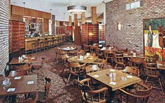 Winston's Steak Pubs W. Hempstead NY and Baltimore MD (Edge and corner wear) Tags: art wall modern bar vintage carpet restaurant pc mural room postcard modernism screen plastic chrome divider