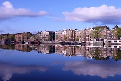 Entre deux horizons **-*- °--° (Titole) Tags: blue sky reflection amsterdam clouds thumbsup amstel gamewinner unanimouswinner friendlychallenges thechallengefactory titole nicolefaton