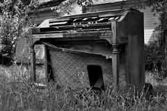 Retired from the Church... (slammerking) Tags: wood music abandoned church overgrown grass decay organ forgotten weatherd hammoned